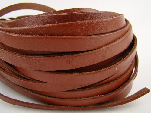 Lederband, Lederriemen 5 m. Breite 9-10 mm. Dicke 2,5 mm. Hellbraun