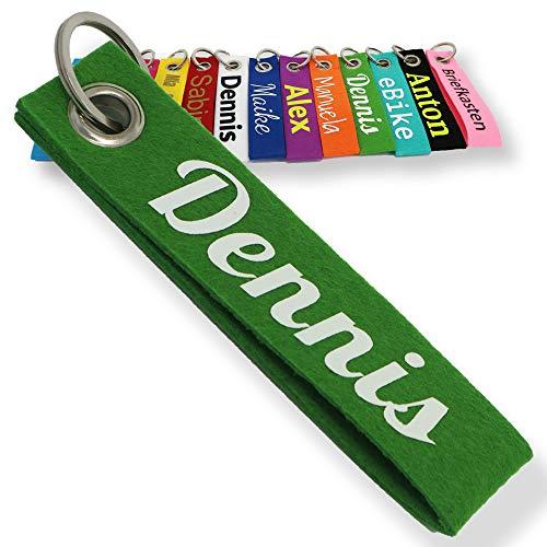 LALALO Schlüsselanhänger aus Filz mit Namen, Personalisiertes Schlüsselband Geschenkidee mit Aufschrift oder Wunschtext, Glücksbringer Filzanhänger mit Name, Geburtstag, Weihnachtsgeschenk (Grün)