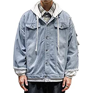 Men's Hooded Casual Ripped Destroyed Rugged Unlined Wear Denim Jacket Coat