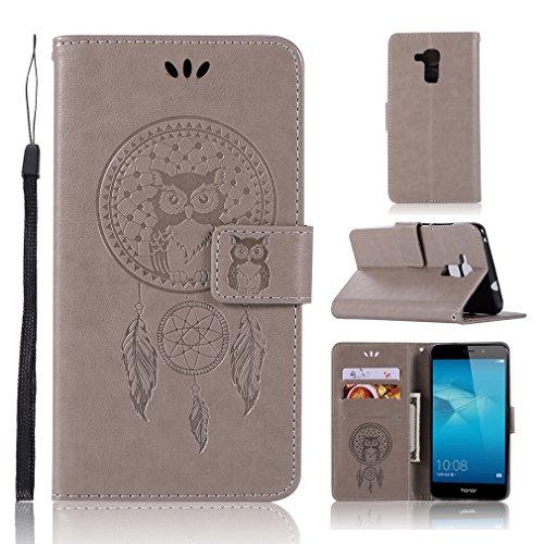 LMAZWUFULM Hülle für Honor 5C / Huawei 7 Lite/Huawei GT3 (5,2 Zoll) PU Leder Magnetverschluss Brieftasche Lederhülle Eule & Traumfänger Muster Standfunktion Ledertasche Flip Cover Grau