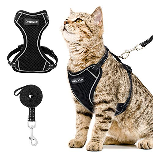 cat leashes DMISOCHR Cat Harness and Leash Set - Escape Proof Safe Cat Vest Harness for Walking Outdoor - Reflective Adjustable Soft Mesh Breathable Body Harness - Easy Control for Small, Medium, Large Cats