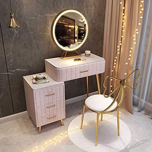 Pink Schminktisch mit Spiegeln Make-up Tisch mit Schubladen Schlafzimmermöbel Set mit Beistelltisch & Schmetterlingsstuhl Moderne Mädchen Geschenke