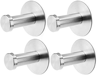Mustar Self Adhesive Hooks Robe Towel Hook Wall Hanger SUS 304 Stainless Steel Stronger Sticky Wall Hooks for Hanging Bathroom Kitchen Organizer Brushed Nickel, 4 Packs
