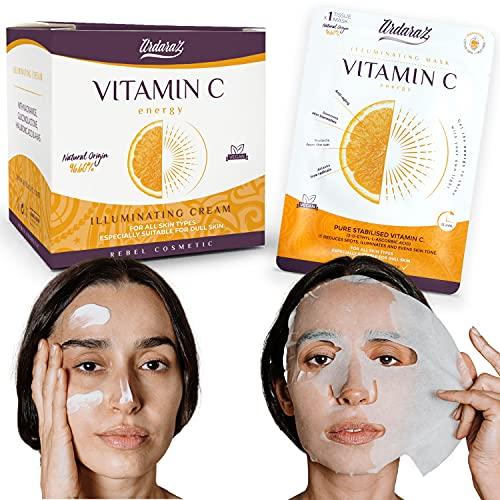 Ardaraz – Crema Antimanchas mujer + mascarilla - Hidratante e Iluminadora, con Vitamina C pura 50 ml.