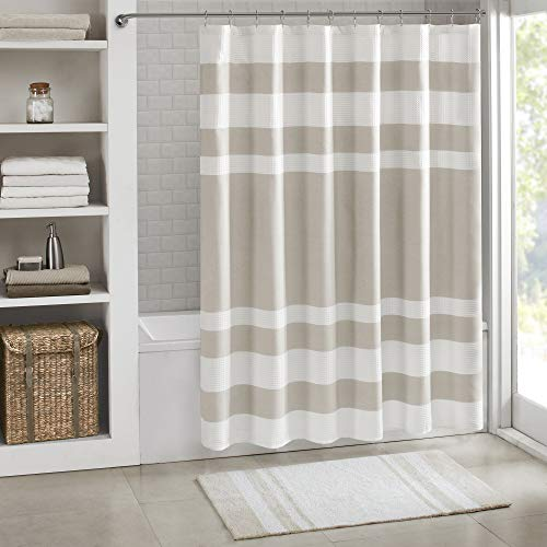 Madison Park Spa Waffle Shower Curtain Pieced Solid Microfiber Fabric with 3M Scotchgard Water Repellent Treatment Modern Home Bathroom Decorations, Stall 54X78, Taupe