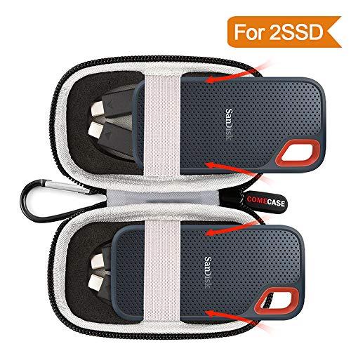 Tasche Hülle Etui für SanDisk Extreme Portable SSD 1TB/2TB/250GB/500GB Festplatten - Passend für 2 Externe SSD