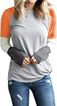 Milamy Womens Pullover Blouse, Ladies Casual Long Sleeve Tops Patchwork Tops Plus Size Loose Crew Neck Sweatshirt S-XXL