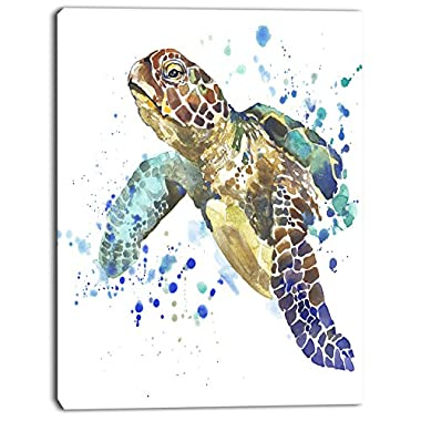 Design Art Blue Sea Turtle Illustration Animal on Canvas Art Wall Photgraphy Artwork Print