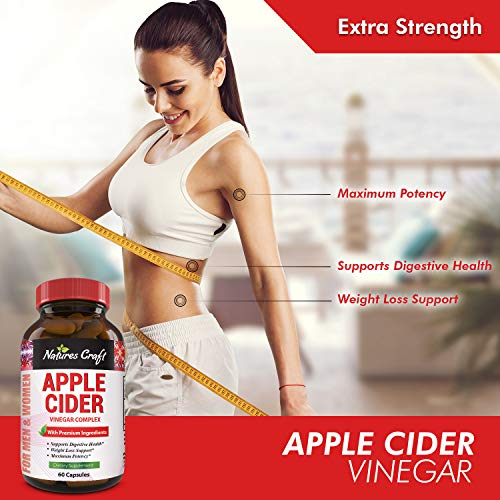 Natures Craft Apple Cider Vinegar Pills – For Weight Loss ACV Capsules Extra Strength Fat Burner Natural Supplement Pure Detox Cleanse Appetite Suppressant Immune Booster – for Women and Men 60 caps 7
