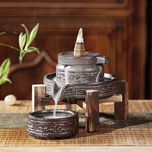 Keramik Räuchergefäß, Räucherkegel, Rückflussbrenner, Porzellan, Zuhause, Büro, Teehaus-Dekor mit 10 Stück Rückfluss-Räucherstäbchen b 100 x 95 mm braun