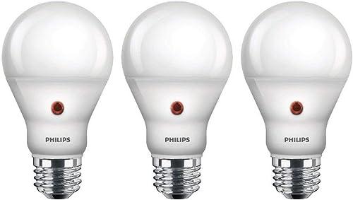Philips LED 466599 Soft White 60 Watt Equivalent Dusk to Dawn A19 LED Light Bulb, Frustration Free 3 Pack, 3-Pack, 3 ...