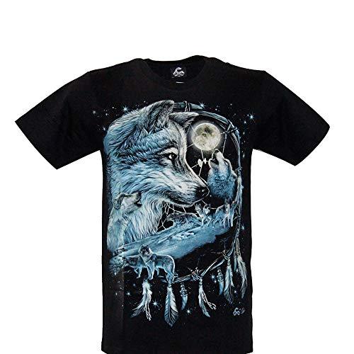 Cabalo - Camiseta de hombre y mujer de algodón de manga corta con impresión de lobo con atrapasueños de efecto afelpado (MA-100), talla S, M, L, XL Negro  M