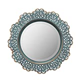 Stonebriar Decorative Round Metal Lace Wall Mirror, 12.5 Inch, Turquoise