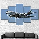 BDFDF Impresión sobre Lienzo 5 Piezas Cuadros Modernos Grandes Vuelos Emirates Airbus A380 Cuadros 5 Piezas Moderna Cuadro Decoración Moderno Sala De Estar Dormitorio Decoración Hogar