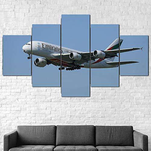 IMXBTQA Impresión En Lienzo 5 Piezas Cuadro sobre Lienzo,5 Piezas Cuadro En Lienzo,5 Piezas Lienzo Decorativo,5 Piezas Lienzo Pintura Mural,Regalo,Decoración Hogareña Vuelos Emirates Airbus A380