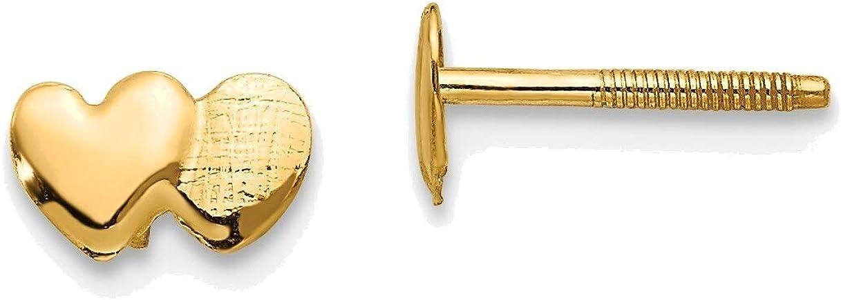 Madi K Double Heart Earrings in 14K Yellow Gold