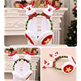 時計壁クリスマスイヤーマフ、4ピースサンタクロース雪だるまエルククマ柄サンタイヤーマフクリスマスヘアーフープ、かわいい漫画のフェイクファーぬいぐるみイヤーマフクリスマス帽子ホリデーパーティー衣装アクセサリー(4ピース)