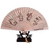 Ventilador Ventilador de Bambú, Caja de Regalo China Plegable, Utilizado Para Decoración de Paredes, Talla de Madera Retro de Verano, Danza de Dama Antigua Estilo Abanico Plegable Hueco Portátil,F