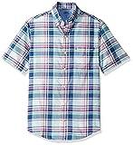 IZOD Men's Fit Saltwater Dockside Chambray Short Sleeve Button Down Plaid Shirt, Yucca, Medium Slim