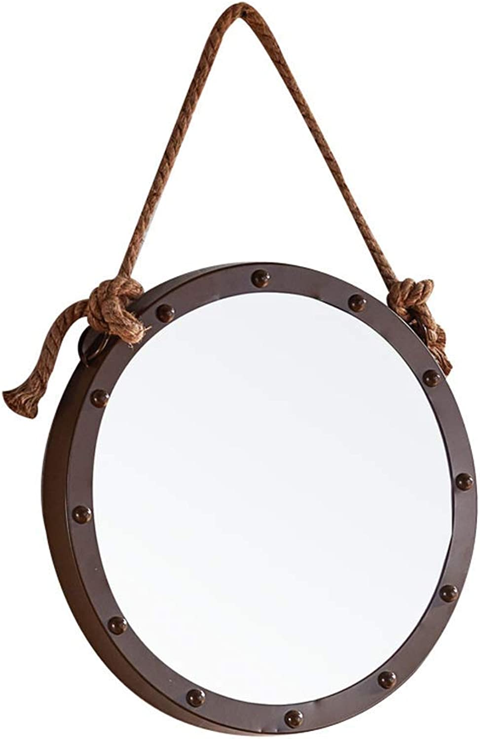 Wall-Mounted Mirror Hemp Rope Makeup Mirror Bathroom Wall Wrought Iron Round Mirror (color   -, Size   -)