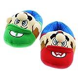 SUPER MARIO Brothers Boys Plush Slippers (Large / 2-3, Mario Luigi Blue)