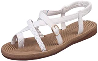 Aiweijia Women Summer Thin Belt Woven Roman Shoes with Toe Sandals Flat Sandals