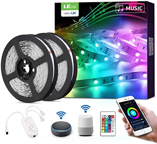 LE LED Strip Alexa, 10M(2 * 5M) LED Streifen mit Musik, IP20 Smart RGB Lichtband [nur 2.4GHz] WiFi LED Leiste Lichterkette für Haus, Küche, Party, TV, LED Band Kompatibel mit Alexa, Google Home