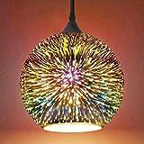Frideko Glass Pendant Light, 3D Colourful Fireworks Creative Light Fitting for Loft Home Office Restaurant Dining Room Garden (ø30CM)