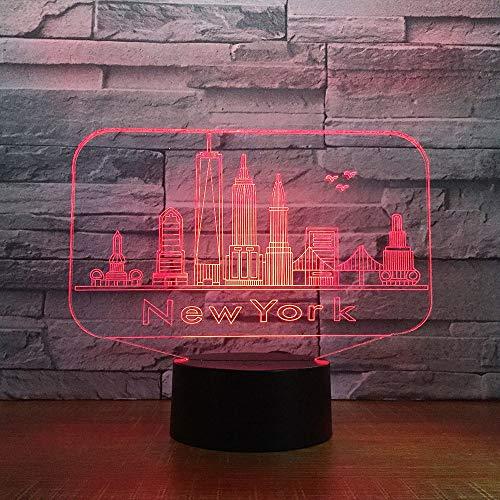 Edificio de la ciudad de nueva york Lámpara Decorativa de Mesa de 3D con Luz de Noche Luces Led Funciona con Pilas para Fiestas Bodas Festivales Decoración del Hogar Disposición Romántica