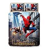YZHY - Set di lenzuola 3D Marvel Spiderman, motivo animato Spiderman, in microfibra, resistente alla decolorazione, per bambini e bambine, letto singolo, 200 x 200 cm