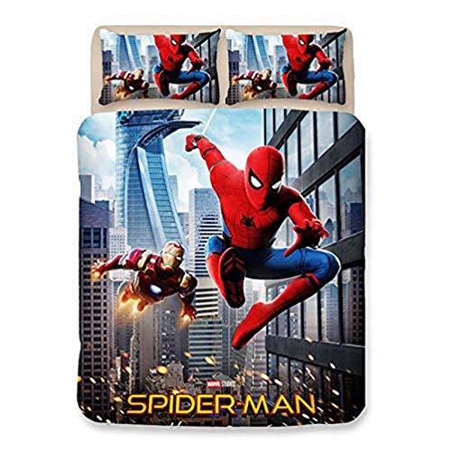 YZHY House de Couette Spiderman avec Taie d'oreiller Assortie, Ensemble de Literie Marvel Bandes dessinées pour Enfants avec Glissière Cachée (N,220X240)