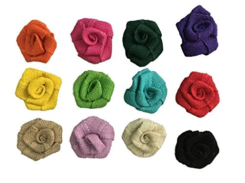 Brun Lot de 10 Fleur Rose Toile de Jute Rustique Vintage D/écoration Mariage Couture DIY 6.5cm