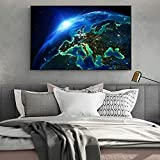 QWESFX Space Landscape Wall Art Canvas Prints Modern Wall Posters and Prints Earth from Space Canvas Painting On The Wall Decor (Print No Frame) A5 60x120CM