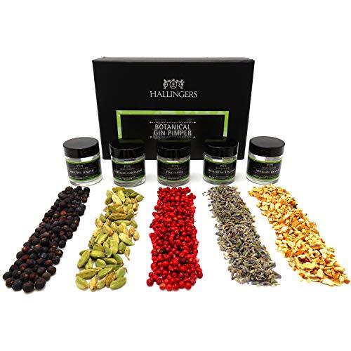 Hallingers 5er Premium Gin Botanicals als Geschenk-Set (43g) - Botanical Gin Pimper (MiniDeluxe-Box) - zu Passt immer Für Ihn Weihnachten