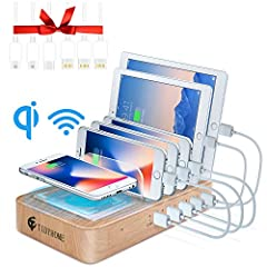★TIDY AND ORGANIZED - This wireless charging dock station keeps everything in one place, makes your desk nice and clean. Perfectly hold all your devices, no cluttered cables on the table or floor any more. ★MULTI FUNTIONAL ORGANIZER - With 5 USB char...