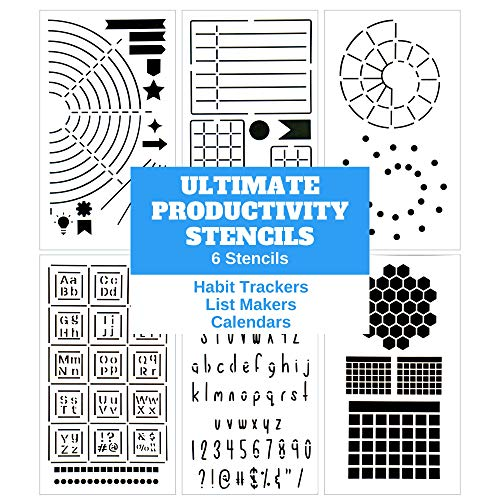 Ultimate Productivity Journal Stencil Set - Custom-Designed Supplies for Bullet Journal Planners with DIY Templates to Create Calendars, Lists, Letters, Numbers, Habit Trackers by Sunny Streak