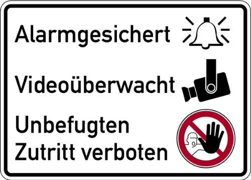 Aufkleber Alarmgesichert, Videoüberwacht, Unbefugten Zutritt verboten 150 x 200 mm (Alarmanlage, Sicherheitseinrichtung)