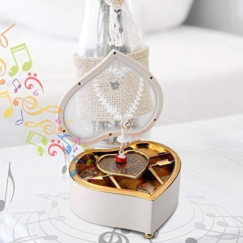 AUNMAS Caja de música en Forma de corazón con Spinning Dance Bailarina Caja de...