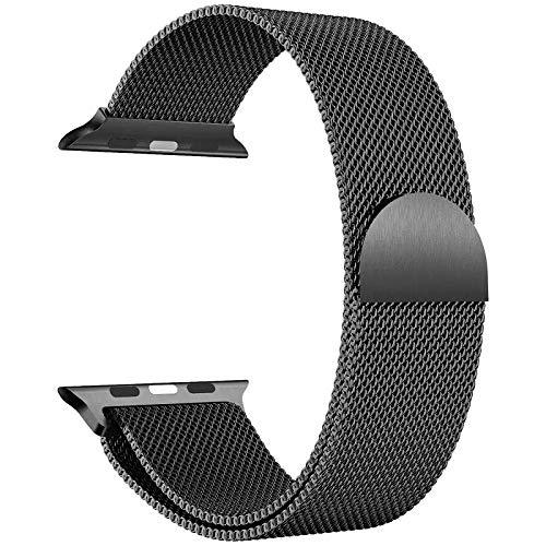 Cinturino per orologio [maglia milanese 38/40/42/44 mm] [acciaio inossidabile] uomo e donna – compatibile con Watch serie 5/4/3/2/1 (38/40 mm), colore: nero