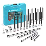 GEARDRIVE 24-Piece Long Bit Socket Set, 1/4'' & 3/8'' Drive, Includes Ball End Hex/Trox Bit Sockets, Standard/Wobble Extensions, Universal Joints, Premium CR-V and S2 Steel Made, with Case -  Hangzhou Great Star Industrial Co.,LTD.