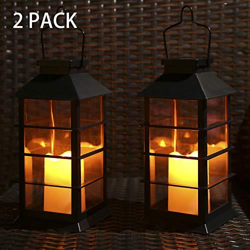 Tomshine Solar Laterne Flackernde Flamme Feuerkerze LED Lampe im Freien hängende dekorative Beleuchtung für Garten