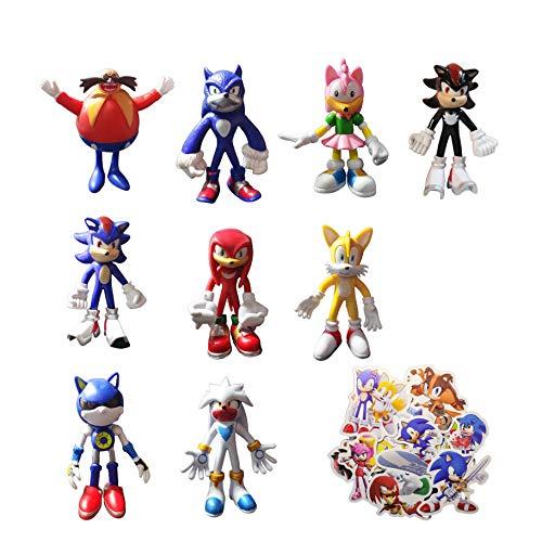 XINSHENG Sonic Toys 9 unids/set Sonic The Erizo Figurines muñeca colección Acción figura accesorio