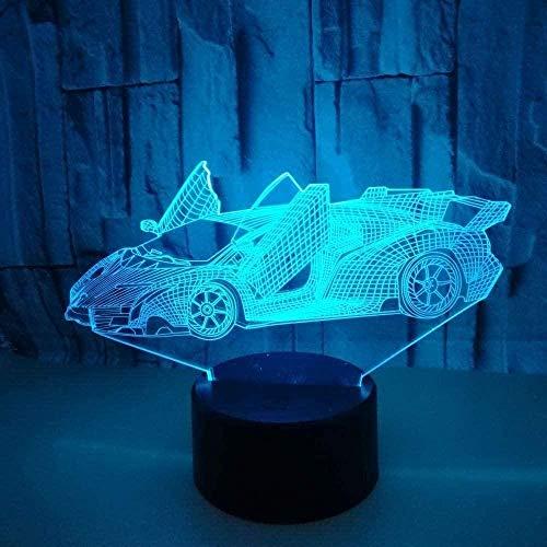 3D Illusion Lamp- Roadster -3D LED Luz Nocturna para Niños, 7 Colores Cambian con Control Remoto, Regalos para Niños Niñas