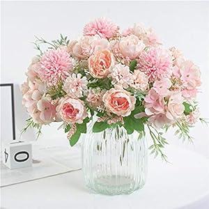 Artificial Flowers, Fake Peony Silk Hydrangea Bouquet Decor Plastic Carnations Realistic Flower, Beautiful Artificial Silk Fake Flowers Wedding Valentines Bouquet Bridal Decor (C, Pink)