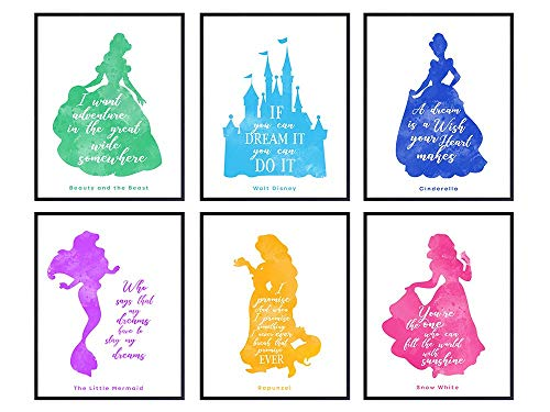 Disney Quotes Posters - 8x10 Princess Wall Art Room Decorations - Home Decor Set for Girls Bedroom, Nursery - Cute Girly Gift for Rapunzel, Cinderella, Snow White, Ariel, Belle and Disney World Fan
