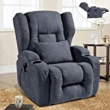 VUYUYU Power Recliner Chairs for Living Room, Modern Fabric Comfy Home Theater Recliner with Massage and Heating, Ergonomic Sofa Chair with 2 Cup Holders/USB Charge Port/Lumbar Pillow (Blue Gray)