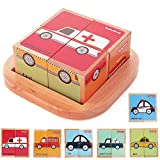 Wooden Block Puzzles Toys Toddler Six Sides Painting Pattern Jigsaw Vehicle Blocks Cube Puzzle Educational Toy Early Learning Kids Childrens Gifts 3 Year Old Girl Boy