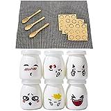 Yangbaga Vasos para Yogurtera, 6 Vasos de Repuesto Tarros Cristal Pequeños con Tapa Plastico para...