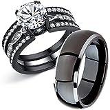 MABELLA Couple Rings Black Men's Titanium Matching Band Women CZ Stainless Steel Engagement Wedding Sets Size Women 6 Men 9