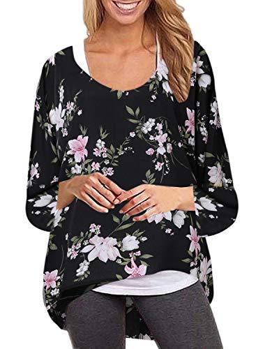 ZANZEA Camisetas Mujer Tallas Grandes Blusas Verano Manga 3/4 Flores Estampado Tops Irregular Casual Pullover Oversize Y-Floral Negro 2 S